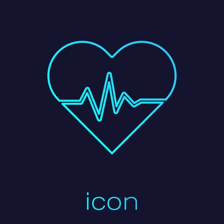 Turquoise line Heart rate icon isolated on blue background. Heartbeat sign. Heart pulse icon. Cardiogram icon. Vector Illustration