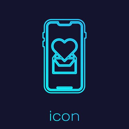 Turquoise line Mobile phone with heart icon isolated on blue background. Valentines day. Vector Illustration Illusztráció