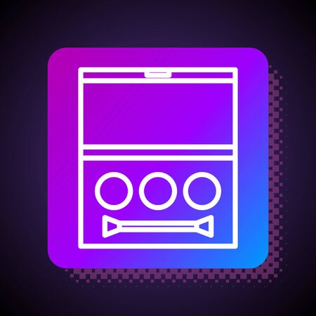 White line Eye shadow palette with brush icon isolated on black background. Square color button. Vector Illustration 矢量图像