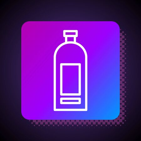 White line Bottle of shampoo icon isolated on black background. Square color button. Vector Illustration
