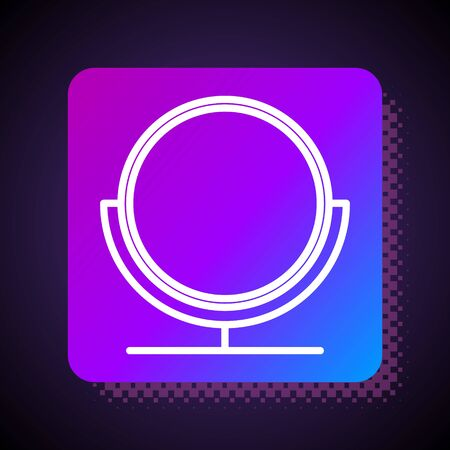 White line Round makeup mirror icon isolated on black background. Square color button. Vector Illustration