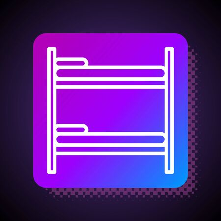 White line Bunk bed icon isolated on black background. Square color button. Vector Illustration