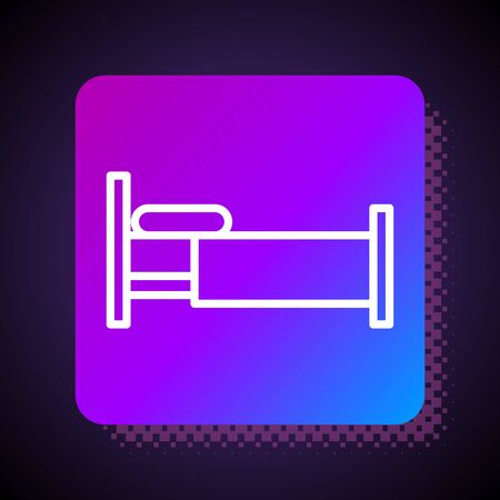 White line Bed icon isolated on black background. Square color button. Vector Illustration Ilustrace