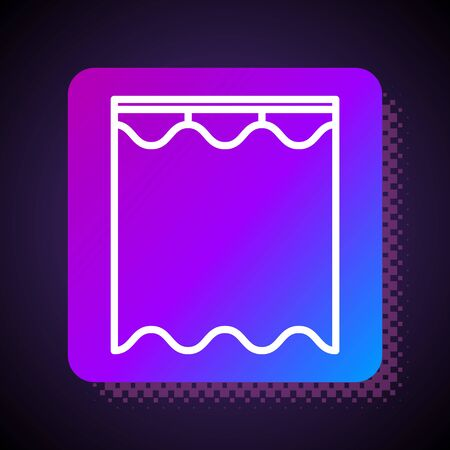 White line Curtains icon isolated on black background. Square color button. Vector Illustration