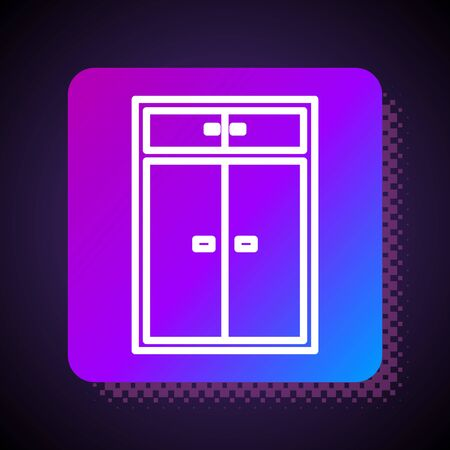 White line Wardrobe icon isolated on black background. Square color button. Vector Illustration