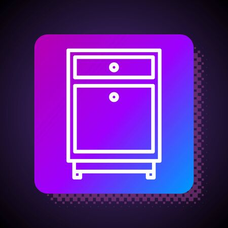 White line Furniture nightstand icon isolated on black background. Square color button. Vector Illustration Stock Illustratie