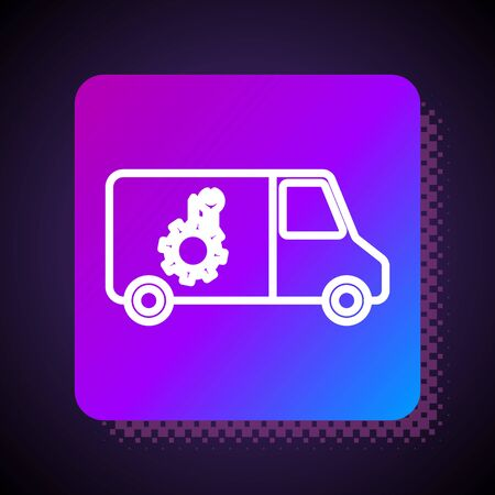 White line Car service icon isolated on black background. Repair service auto mechanic. Maintenance sign. Square color button. Vector Illustration