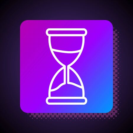 White line Old hourglass with flowing sand icon isolated on black background. Sand clock sign. Business and time management concept. Square color button. Vector Illustration