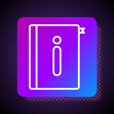 White line User manual icon isolated on black background. User guide book. Instruction sign. Read before use. Square color button. Vector Illustration