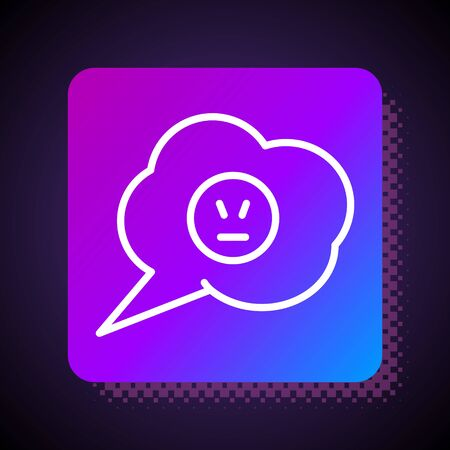 White line Speech bubble with angry smile icon isolated on black background. Emoticon face. Square color button. Vector Illustration