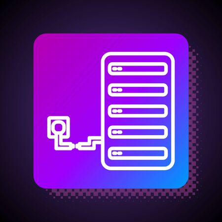 White line Server icon isolated on black background. Adjusting app, service concept, setting options, maintenance, repair, fixing. Square color button. Vector Illustration