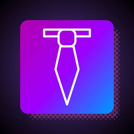 White line Tie icon isolated on black background. Necktie and neckcloth symbol. Square color button. Vector Illustration