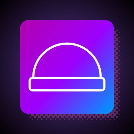 White line Beanie hat icon isolated on black background. Square color button. Vector Illustration