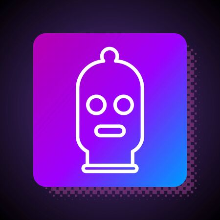 White line Balaclava icon isolated on black background. A piece of clothing for winter sports or a mask for a criminal or a thief. Square color button. Vector Illustration 일러스트