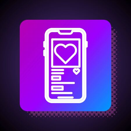 White line Mobile phone with heart icon isolated on black background. Valentines day. Square color button. Vector Illustration
