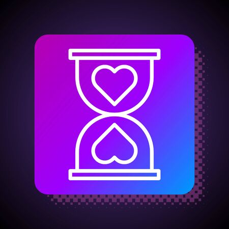 White line Heart in the center old hourglass icon isolated on black background. Valentines day. Square color button. Vector Illustration 向量圖像