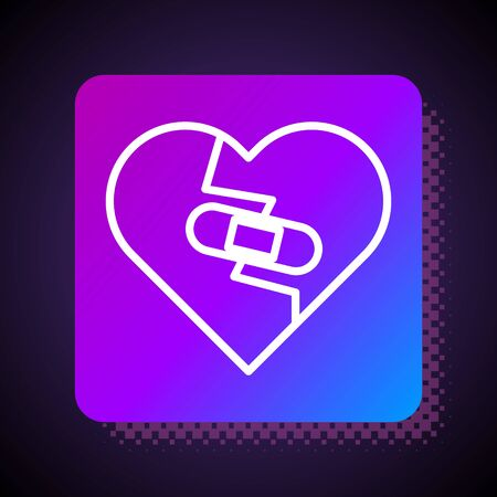 White line Healed broken heart or divorce icon isolated on black background. Shattered and patched heart. Love symbol. Valentines day. Square color button. Vector Illustration Ilustração