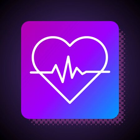White line Heart rate icon isolated on black background. Heartbeat sign. Heart pulse icon. Cardiogram icon. Square color button. Vector Illustration