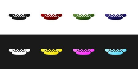 Set Hotdog sandwich with mustard icon isolated on black and white background. Sausage icon. Street fast food menu.  Vector Illustration