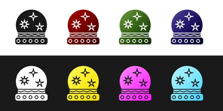Set Magic ball icon isolated on black and white background. Crystal ball. Vector Illustration