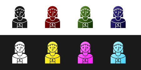 Set Astrology woman icon isolated on black and white background. Vector Illustration Illustration