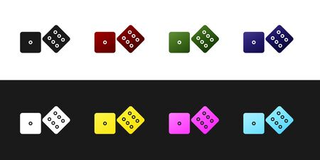 Set Game dice icon isolated on black and white background. Casino gambling. Vector Illustration 向量圖像