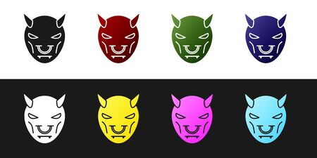 Set Mask of the devil with horns icon isolated on black and white background. Vector Illustration 일러스트