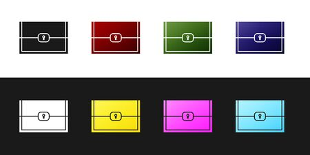 Set Chest for game icon isolated on black and white background. Vector Illustration Illustration