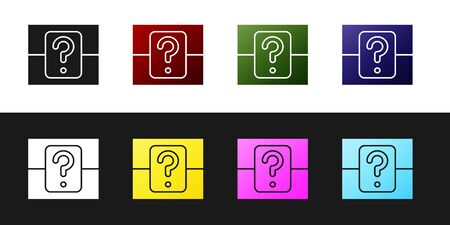 Set Mystery box or random loot box for games icon isolated on black and white background. Question box. Vector Illustration Ilustração
