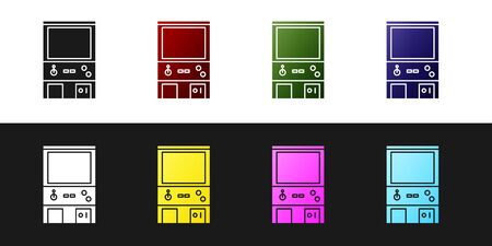 Set Retro arcade game machine icon isolated on black and white background. Vector Illustration