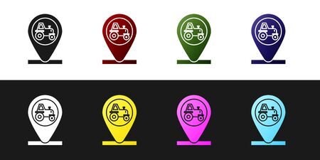 Set Tractor and location icon isolated on black and white background. Vector Illustration