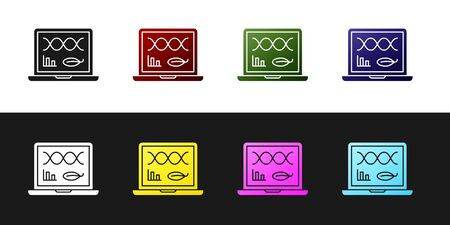 Set Genetic engineering modification on laptop icon isolated on black and white background. DNA analysis, genetics testing, cloning. Vector Illustration Illusztráció