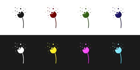 Set Flower producing pollen in atmosphere icon isolated on black and white background. Vector Illustration Illustration