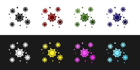 Set Bacteria icon isolated on black and white background. Bacteria and germs, microorganism disease causing, cell cancer, microbe, virus, fungi. Vector Illustration