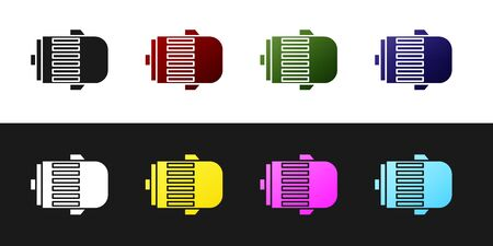 Set Electric engine icon isolated on black and white background. Car alternator. Vector Illustration