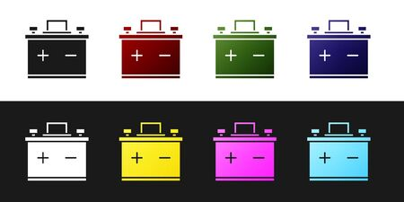 Set Car battery icon isolated on black and white background. Accumulator battery energy power and electricity accumulator battery. Vector Illustration Illusztráció