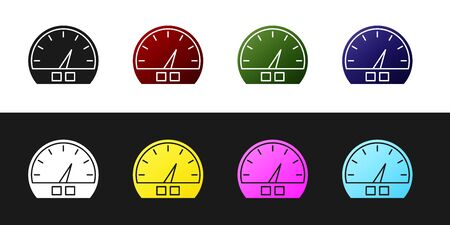 Set Speedometer icon isolated on black and white background. Vector Illustration Ilustração
