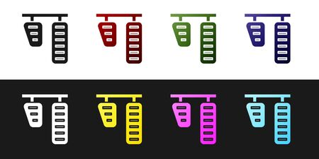 Set Car gas and brake pedals icon isolated on black and white background. Vector Illustration