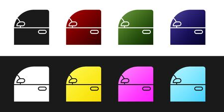 Set Car door icon isolated on black and white background. Vector Illustration