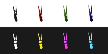 Set Eyebrow tweezers icon isolated on black and white background. Cosmetic tweezers for ingrown hair. Vector Illustration