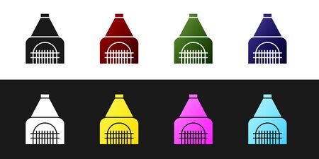 Set Interior fireplace icon isolated on black and white background. Vector Illustration Banque d'images - 138542210