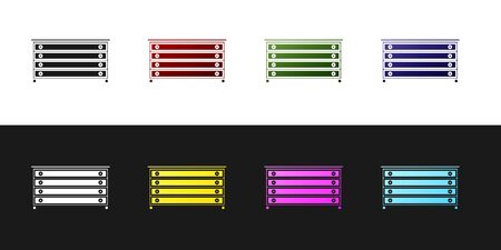 Set Chest of drawers icon isolated on black and white background. Vector Illustration