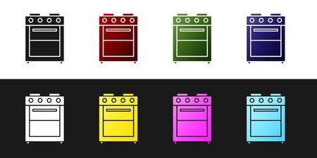 Set Oven icon isolated on black and white background. Stove gas oven sign. Vector Illustration