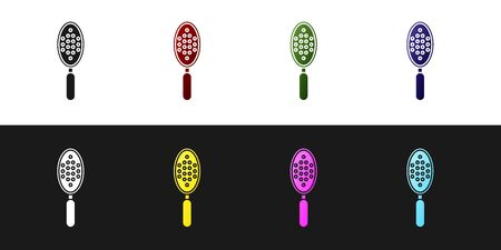 Set Hairbrush icon isolated on black and white background. Comb hair sign. Barber symbol. Vector Illustration Ilustracja