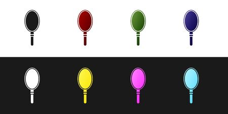 Set Hand mirror icon isolated on black and white background. Vector Illustration