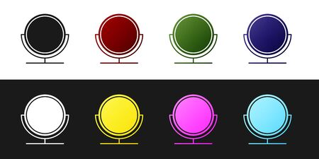 Set Round makeup mirror icon isolated on black and white background. Vector Illustration