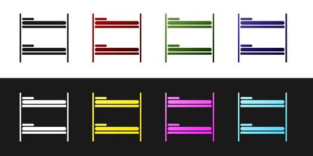 Set Bunk bed icon isolated on black and white background. Vector Illustration