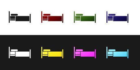 Set Bed icon isolated on black and white background. Vector Illustration