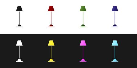 Set Floor lamp icon isolated on black and white background. Vector Illustration