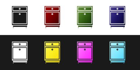 Set Furniture nightstand icon isolated on black and white background. Vector Illustration Ilustrace